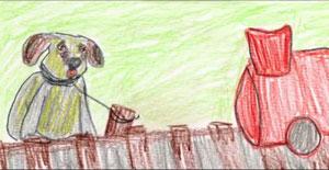 Dibujo de Owen contando la historia de Haatchi. Fuente Imagen: http://doognews.com/video/haatchi-and-owen-heartwarming-story-boy-dog